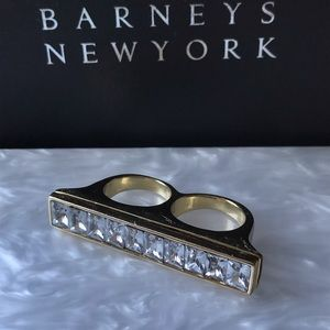 Costume gold knuckle ring with rhinestones